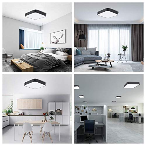 bedee 24W LED Ceiling Light Flush Mount, 12 inch Light Fixture Black, Modern Square Ceiling Lamp for Kitchen, Hallway, Bathroom, Office, Stairwell, 6500K, 1800 Lumens, 80 Ra+, Daylight White