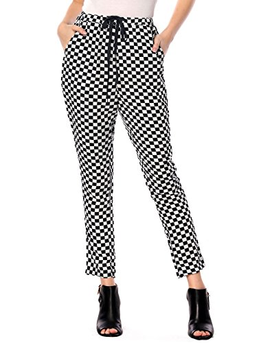 Allegra K Women's Check Pattern Stretchy Waist Drawstring Pants L Black White (White Pants Plaid)