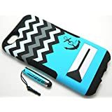 Cell Armor Cell Phone Case for iPhone 6S/6 - Retail Packaging - Black Anchor on Blue/Black & White Chevron
