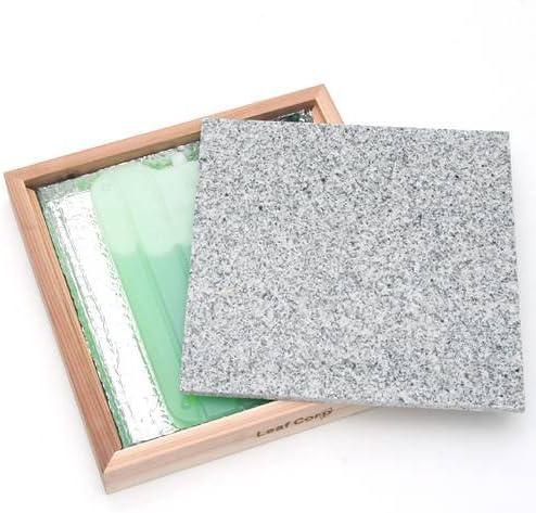ひえひえクールすぽっと みかげ石30×30 マーブル+ウッドフレームセット(保冷剤付)+交換用保冷剤2個 アルミプレート タイル ひんやり