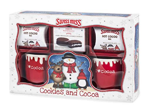 - Swiss Miss Holiday Gift Set 2 Mugs, Dark Chocolate Covered Cookies, Milk Chocolate Cocoa, 3.8 oz.