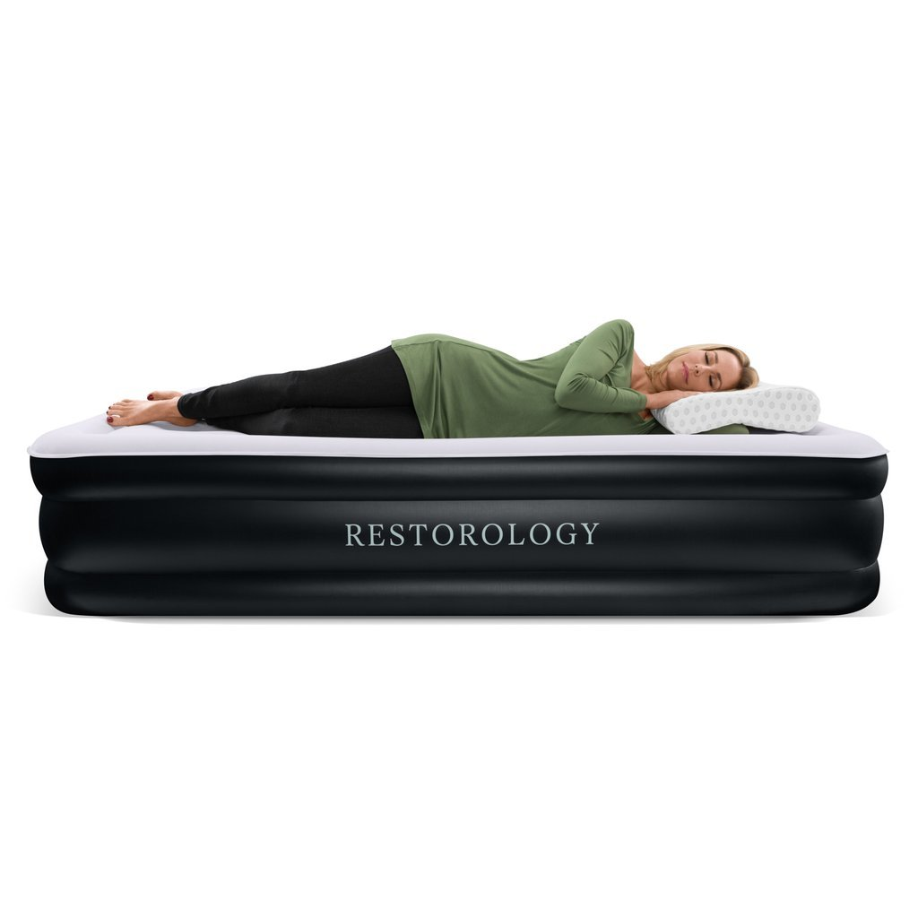 Restorology Queen Size Sleep Series Air Mattress with Air Coil Technology & Built-in Pump Sleep Restoration RSTRLGY-ARMTTRSS