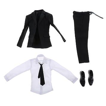 Garantie de satisfaction à 100% nouveau pas cher 100% authentifié B Baosity 1/6 Chemise Blanche Pantalon De Costume Noir ...