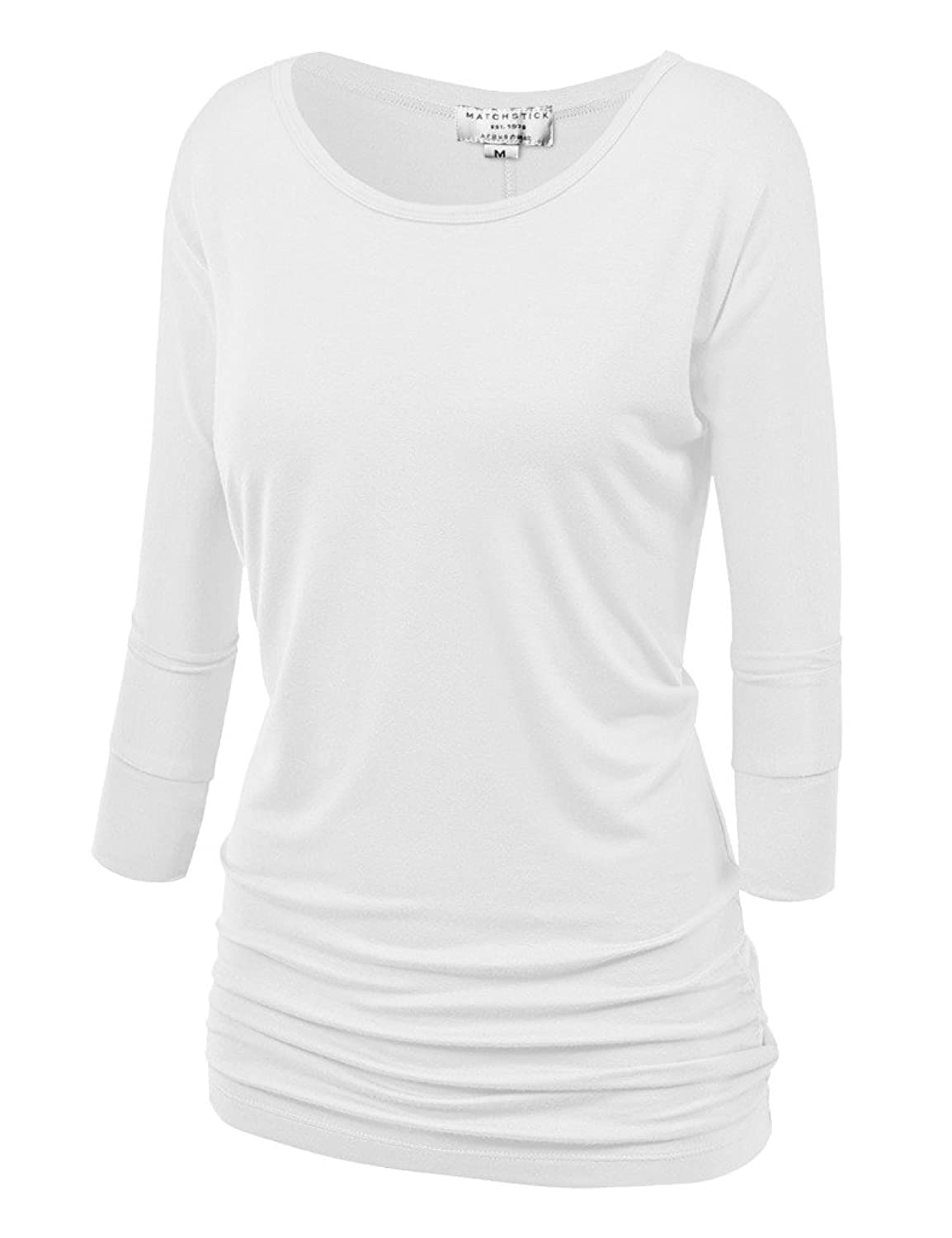 Match Women's 3/4 Sleeve Drape Top with Side Shirring
