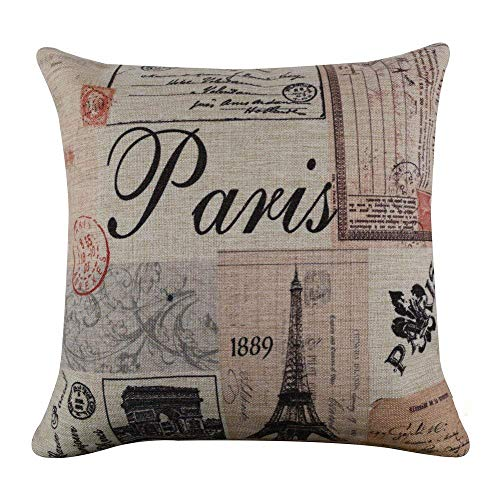 Acelive 20x20 Inches Colorful Paris Eiffel Tower Burlap Cushion Covers Pillow Case for Sofa (Paris Le Sofa)
