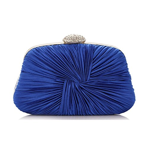 JESSIEKERVIN Clutch Handbag Evening Purse Bag Crossbody Women's Blue Pleated vrIxUSv