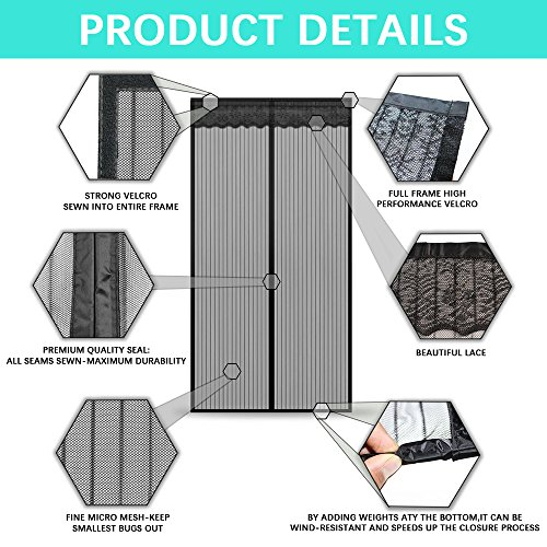 Magnetic Screen Door,Removable Screen Door with Full Frame Velcro and Heavy Duty Mesh Curtain (36''x82'') by Famirea (Image #4)