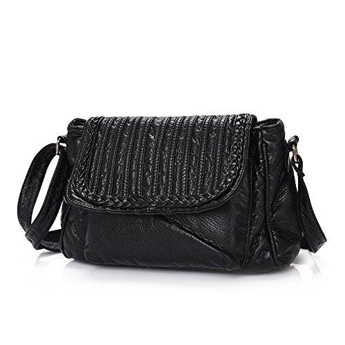 Lavado Oblicua Meoaeo De Moda Mujer Negro Bag Cuero Cruz black Bolso wnnqU7XxBf