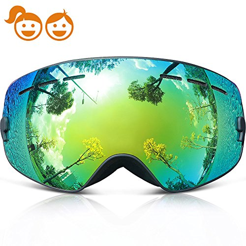 Ski Goggles Kids,COPOZZ G3 Kids Youth Girls Boys Ski Snow Snowboard Goggles - Double Lens Anti Fog Over Glasses Frameless Design Silicone Strap For Toddler Junior Child Baby Snowboarding Black Gold
