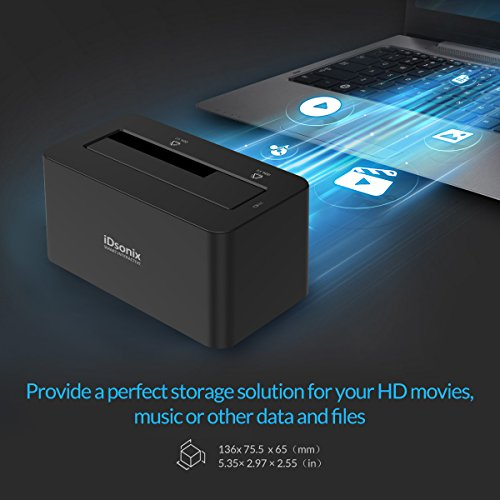 iDsonix Tool Free USB 3.0/2.0 to SATA 2.5/3.5 Inch Hard Drive Docking Station with 3.3 Feet USB 3.0 Cable for HDD/SSD - Black by iDsonix (Image #8)