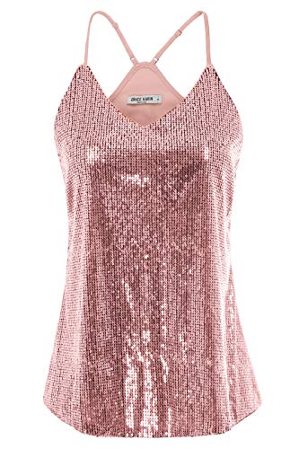 GRACE KARIN Women Sequin Sleeveless Party Camisole Tank Tops Size 2XL,Pink