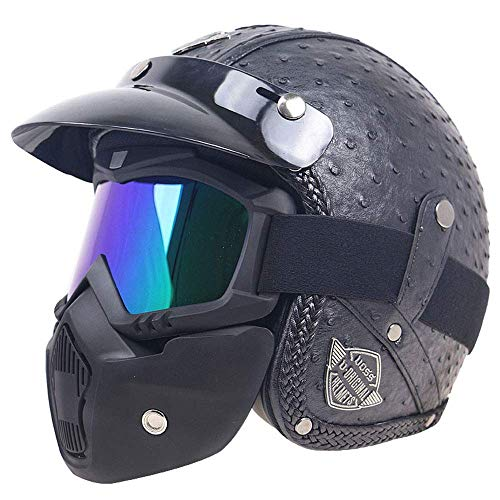 Street Legal Leather (HALUOBOY PU Leather Harley Helmets 3/4 Motorcycle Chopper Bike Helmet Open Face Vintage Motorcycle Helmet with Goggle Mask&Visor,S)