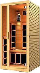 JNH Lifestyles Joyous 1 Person Canadian Hemlock Wood Far Infrared Sauna