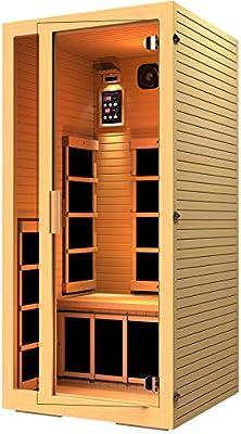 JNH Lifetyles Joyous 1 Person Canadian Hemlock Wood Far Infrared Sauna