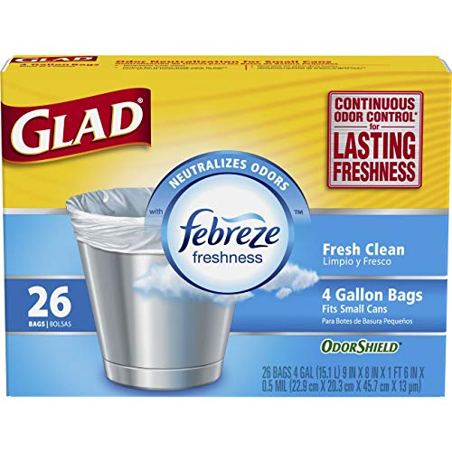 4 Large Bags - Glad Small Trash Bags - OdorShield 4 Gallon White Trash Bag, Febreze Fresh Clean - 26 Count Each (Pack of 6)