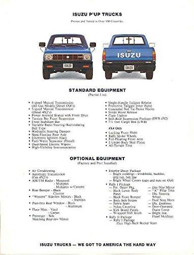 Amazon com: 1981 Isuzu P'UP Pickup Truck Specifications