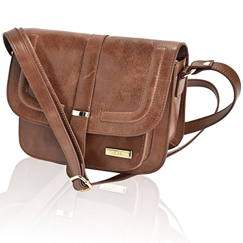 (Leather Crossbody Bags For Women - Crossover Purse Over The Shoulder Womens Purses and Handbags Travel Saddle Bag by Estalon (Tan Vintage Waxy))
