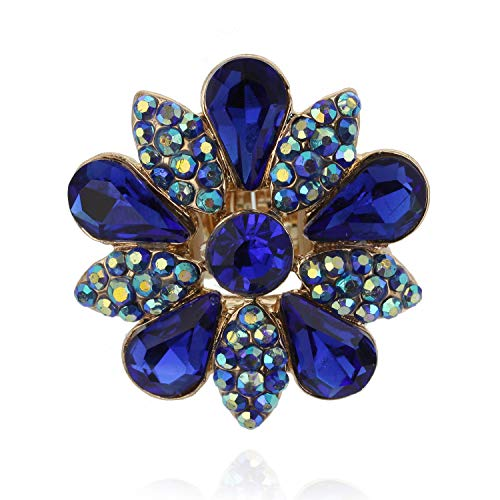 SP Sophia Collection Fashion Flower Ring Embellished with Rhinestones and Austrian Crystals in Royal Blue