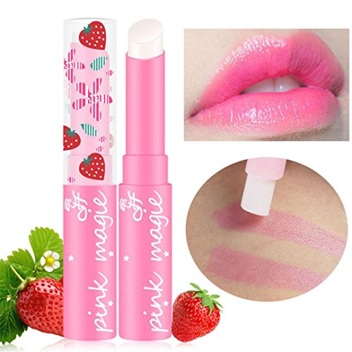 Women Lipstick,Girls Sexy Charming Magic Strawberry Temperature Changing Color Lipstick Ladies Long Lasting Waterproof Moisturizer Balm Lipstick Cosmetic Makeup Best Decoration On Your Lips (Pink)