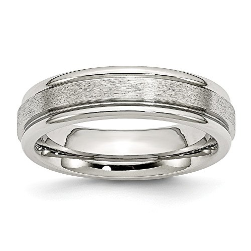 ICE CARATS Stainless Steel Grooved Edge 6mm Wedding Ring Band Size 11.50 Fashion Jewelry Gifts for Women for Her (Three Light Hammered Platinum)
