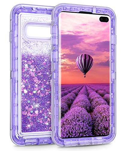 Coolden Case for Galaxy S10 Plus Cases Protective Glitter Case for Women Girls Cute Bling Sparkle Quicksand Heavy Duty Cover Hard Shell Shockproof TPU Case for Samsung Galaxy S10 Plus, Purple