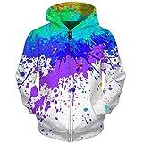 UkEdNs 3D Men Hoodies Zip Up Splatter Color Paint Stains 3D Print Streetwear Casual Jacket Men Women Outwear 07 S