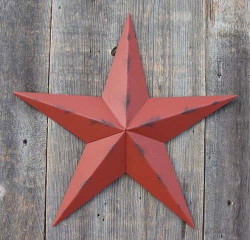 53 Inch Heavy Duty Metal Barn Star Painted Rustic Barn Red. The Rustic Paint Coverage Starts with a Black or Contrasting Base Coat and Then the Star Color Is Hand Painted on Top of the Base Coat with a Feathering Look Which Gives the Star a Distressed Appearance. This Tin Barn Star Measures Approximately 53