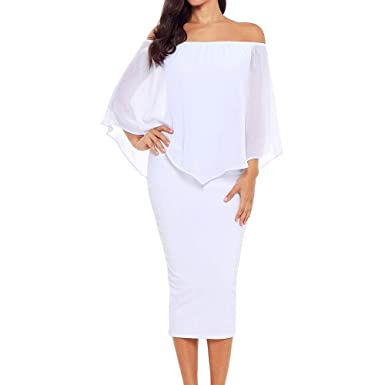 acdb5019f Alaster Queen Women s Off The Shoulder Bodycon Midi Dress Layered Chiffon Ruffled  Party Dress for Women