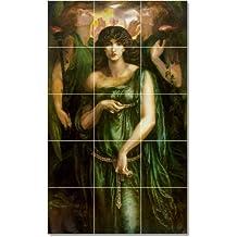 Dante Gabriel Rossetti Mythology Tile Mural Residential Renovations 36x48 in (12) 12x12 tiles. 36x60 Inches Using (15) 12x12 ceramic tiles.