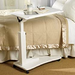 Bedroom Living Room ROLLING ADJUSTABLE READING BEDSIDE TABLE Furniture 3 COLORS (White)