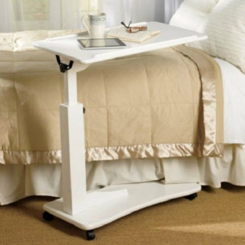 Cheap Bedroom Living Room ROLLING ADJUSTABLE READING BEDSIDE TABLE Furniture 3 COLORS (White)