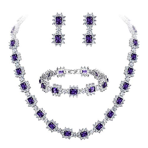 BriLove Wedding Bridal Necklace Bracelet Earrings Jewelry Set for Women CZ Multi Emerald Cut Halo Collar Necklace Tennis Bracelet Dangle Earrings Set Amethyst Color Silver-Tone February Birthstone by BriLove