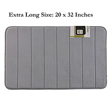 Extra Large Memory Foam Bath Mat,Super Soft Bathroom Rugs,Rugs for Bathroom,Coral Velvet Non Slip Bath Mat,Absorbent Large Bath Rugs, 20W X 32L Inches (Gray)
