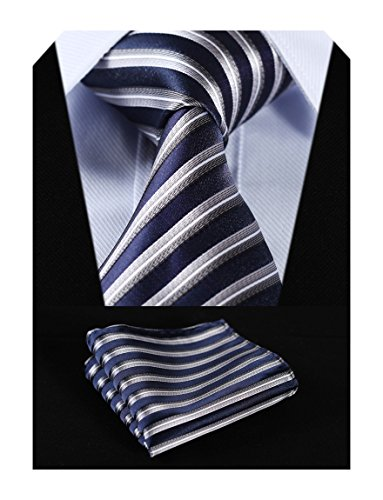 Necktie Blue Stripe (HISDERN Plaid Tie Handkerchief Woven Classic Stripe Men's Necktie & Pocket Square Set (Navy Blue & Silver))