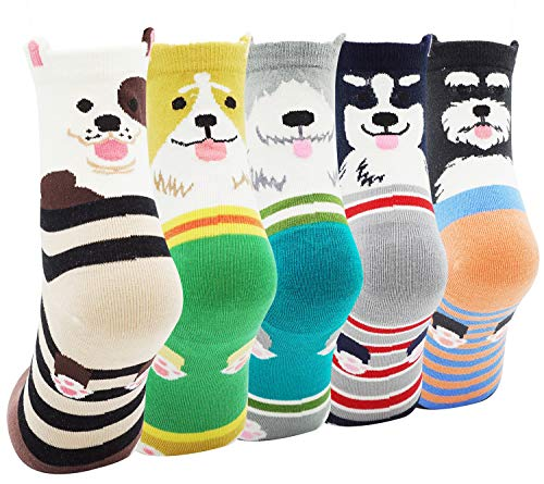Lovful Women 5 Pack Vivid Ears Panda Cat Face Footed Socks Animal Socks