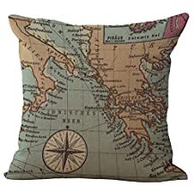 Sailing Printed Patterned Stuffed Cushion ChezMax Zippered Linen Cotton Blend Throw Pillow Insert Square Decorative 18X18 Inch