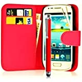 Mega.Deals4U® - PU Leather Flip Card Wallet Case For SAMSUNG GALAXY ACE 3 III GT S7270 S7272 S7275 INCLUDING STYLUS PEN + SCREEN PROTECTOR + CLEANING CLOTH (Red)
