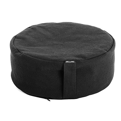 Incline Fit Buckwheat Filled Round Meditation Cushion, Black