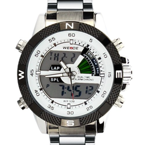 WEIDE Men's Silver/Black Stainless Steel Watch 1104 - 1