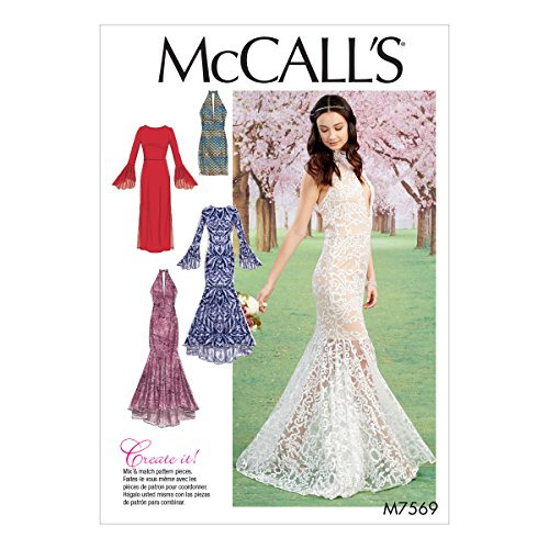 McCall's Patterns M7569A50 Misses Bodice and Sleeve Variations Column and Mermaid-Style Dresses (Dress Sewing Patterns For Prom)