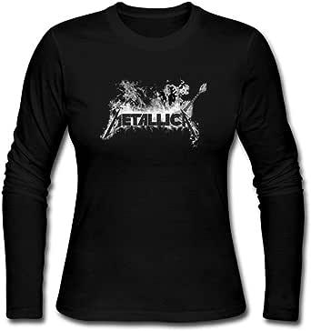 Duanfu DIY Metallica Metallica Women's Long Sleeve Tops Sweatshirt Loose Cotton Crew Neck T-Shirt