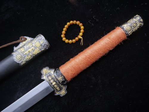 Chinese sword/Tang jian/Damascus steel/Rosewood scabbard/Alloy fittings/Orange handle by longquan sword