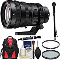 Sony Alpha E-Mount FE 28-135mm f/4.0 G OSS PZ Zoom Lens with 2 UV & CPL Filters + Backpack + Monopod + Cleaning Kit