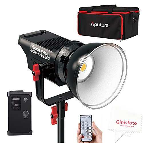 Aputure Light Storm COB 120D 135W 6000K Daylight Balanced LED Continuous V-Mount Video Light CRI97+ TLCI97+ 14000lux@0.5M Bowens Mount Dual Power Supply 2.4G Remote Control 18dB Low Noise with Bag by Aputure