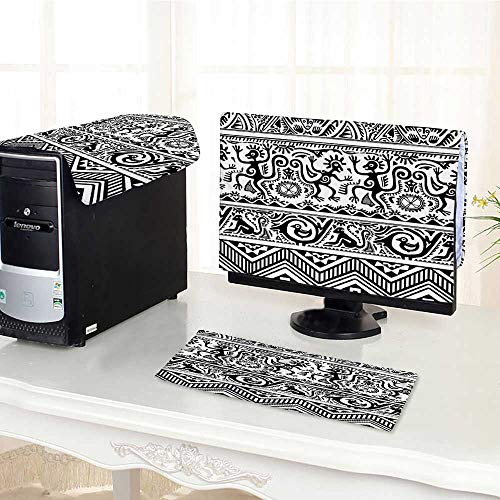 Auraisehome Computer dustproof Three-Piece Birds Primitive Animal Motifs with Tribal Ornaments African Petroglyph Theme Black White for LED LCD Screens Flat Panel HD Display /24