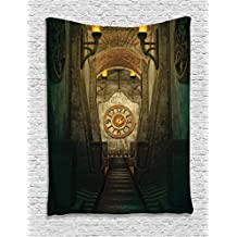 Ambesonne Gothic House Decor Collection, Medieval Secret Passage with Torch and Golden Clock on Wall Mystery in Temple Print, Bedroom Living Room Dorm Wall Hanging Tapestry, 40 X 60 Inches, Grey Teal