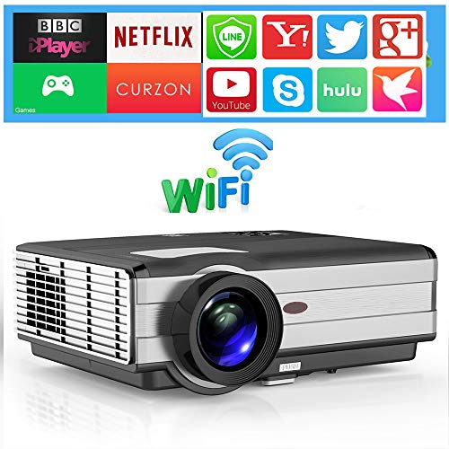 EUG LED Home Theater Projector WiFi Wireless LCD HD Projector with Android System Support Full HD 1080P Airplay Screen Mirror with Smartphone Laptop, with 10W Speaker Zoom HDMI 2 USB (Lcd Display Active Matrix)