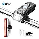 NEXGADGET Luces Delanteras y Traseras Conjunto de Bicicleta Impermeable IPX4 Recargable USB 1200mAh Faros 2 Modos 4 Tipos de Brillo / 6 Modos con Correa Cable de Carga para Ciclismo, Viajar, etc.