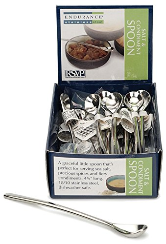 Rsvp Salt (RSVP International DD Endurance Tiny Salt Spoon, 24 Piece Cdu Mini, Silver)