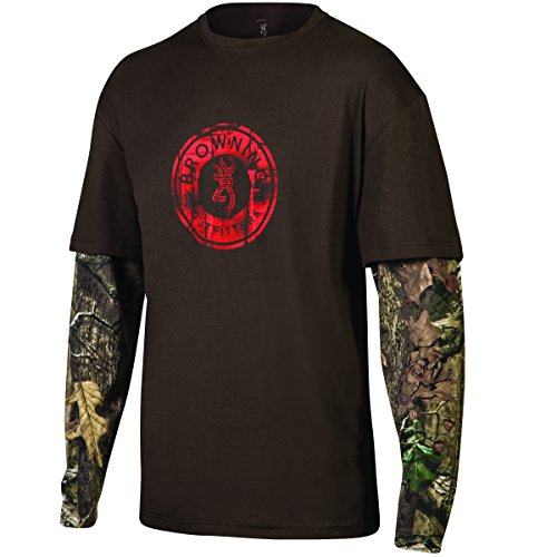 Browning Buckmark Men's Long Sleeve Ryder Camo T Shirt Timber Small